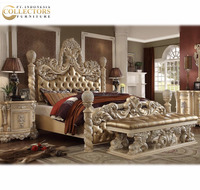 Luxury Classic Royal Carved King Size Bed Set - Bedroom Furniture