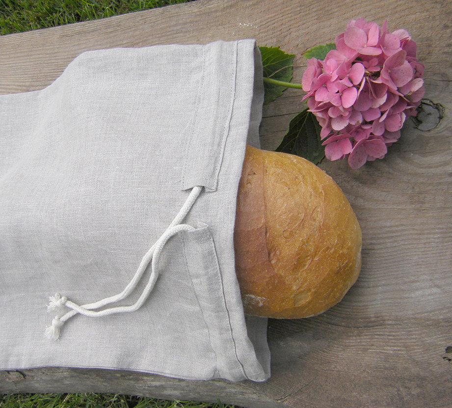 Natural gray color linen bread drawstring bag