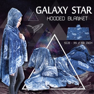 Galaxy star collection. Moldy pile hooded blanket. Beauty with special printing that make you fancy mold art. Size 35x60 inches