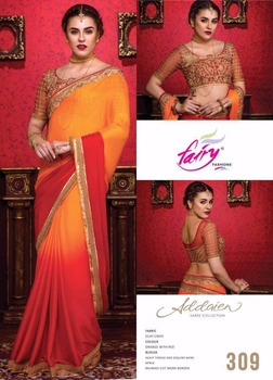 Bikaw Fashion Orange With Red Silky Crepe With Blouse Sequence Work Saree