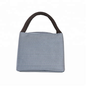 Blue Stripes Insulated lunch cooler bag