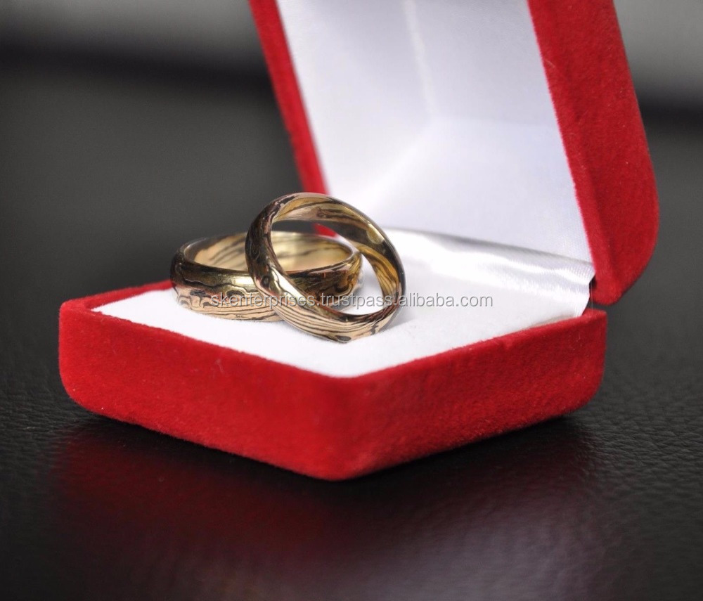 Hand Made Mokume Wedding Rings With Wooden Box Beautiful Christmas Gift SK-570