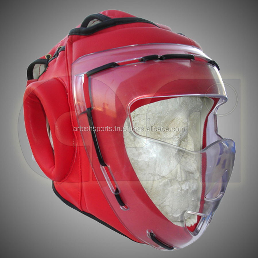 PU Leather Boxing / Martial Arts Head Guard With Glass Face Protection