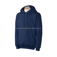 Deep Blue Color Customized Plain Cotton Fleece Hoodies/Lightweight Embroidered Sweatshirts For Young Boys