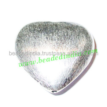 Silver Plated Brushed Beads, size: 38x40x16mm, weight: 16.62 grams. BMSPBR003