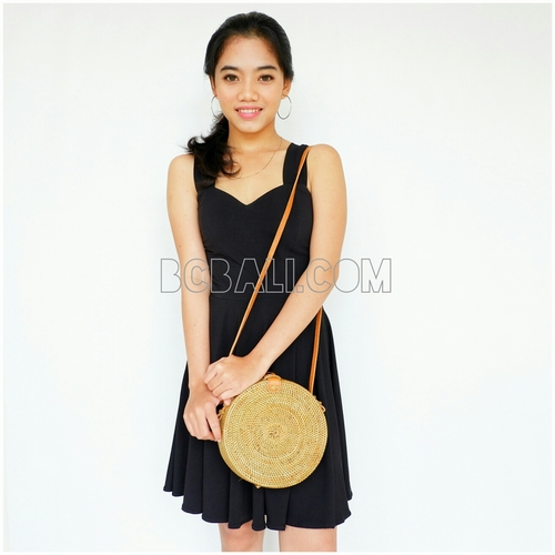 circle rattan ata handwoven sling bags handmade leather clips