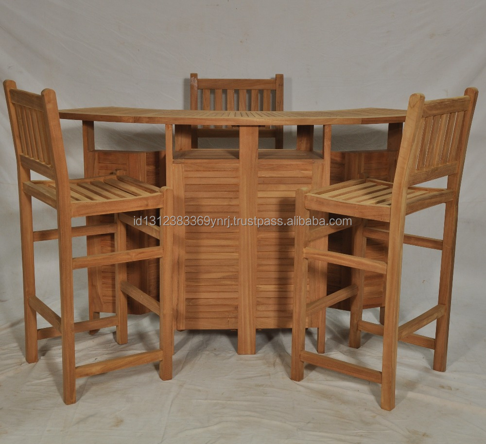 High quality teak wooden outdoor bar table set furniture from Indonesia