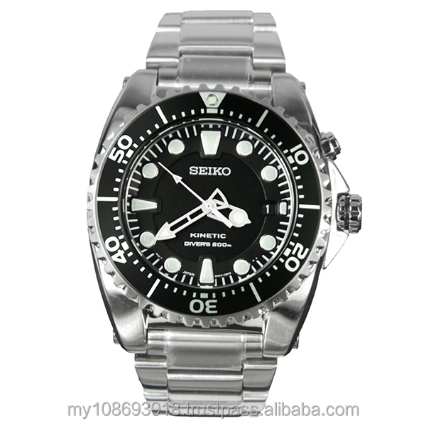Seiko Watch SKA371P1 Kinetic Diver's 200M Black Men's Watch