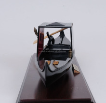 VENETIAN GONDOLA BLACK PAINTED. Wooden Model Boat L40 cm