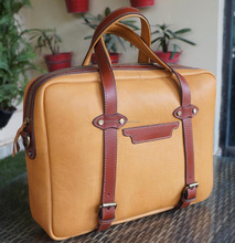 Tan Leather Briefcase/Laptop Bag