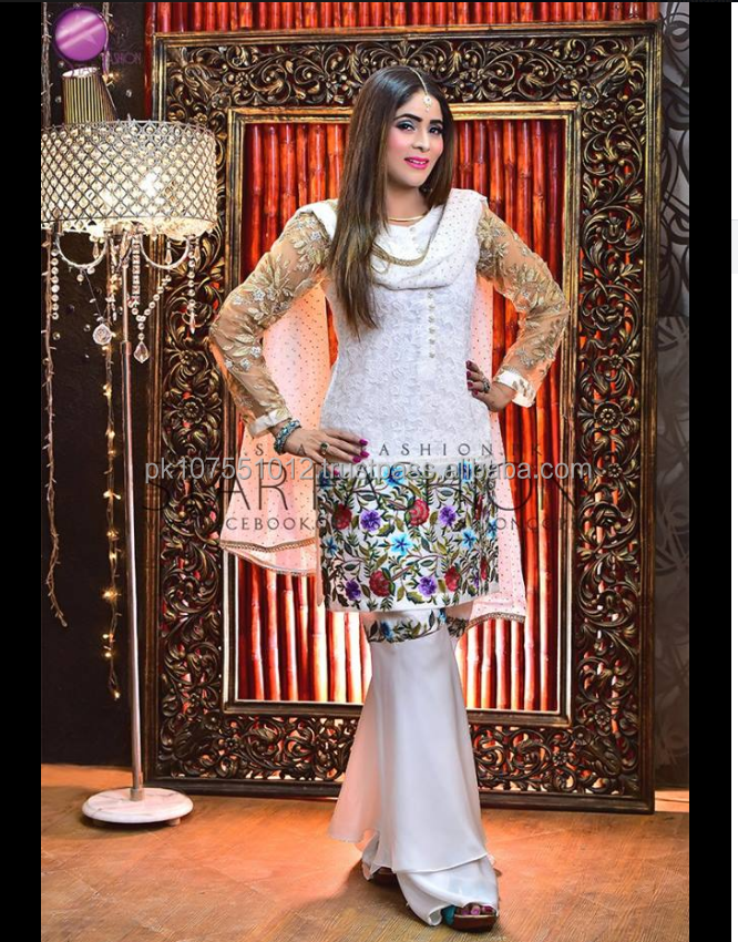 Pakistani/Indian Exclusive & Stylish Modern Fancy Ghararah three pieces dress for elegant lady.