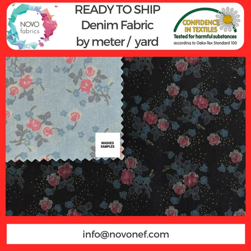 Printed denim fabric sale per meter indigo dyed pigment printed jean fabric ready to ship