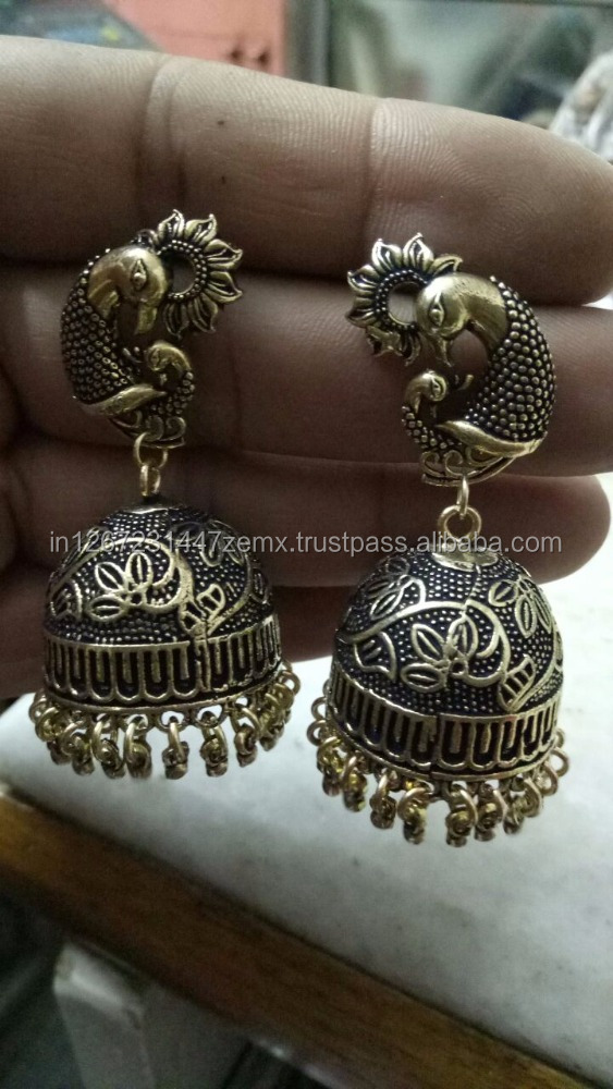 Brass Metal Antique Gold Plating Jhumka Earring
