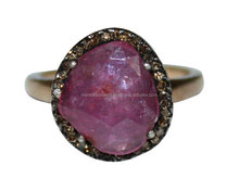 Excellent 925 sterling silver ruby gemstone diamond ring