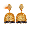Pave Diamond 925 Silver Gold Plated Earring Ruby And Sapphire Traditional Jhumka Earrings Silver Jewelry Supplier