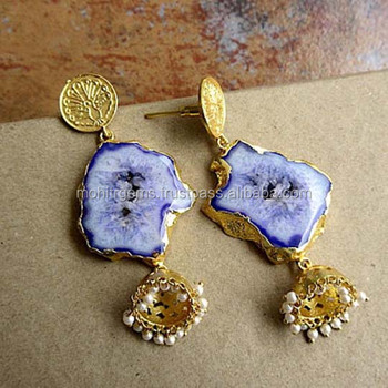 Purple Geode Agate Ethnic Indian Earrings with Jumka Pearls, Boho Statement Earrings, Peacock Gemstone Earrings