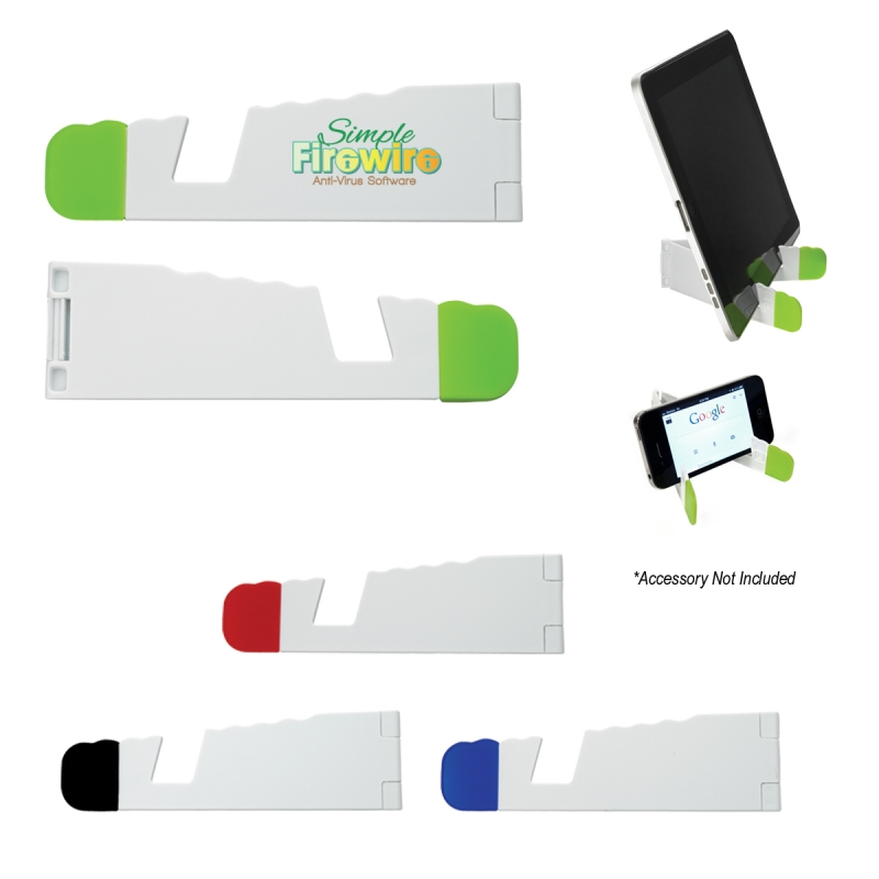 V-Fold Tablet And Phone Stand - has non-skid rubber tips, holds a variety of tablets for easy viewing and comes with your logo