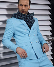 Best Quality Pure Wool Fabric Newest Fashion Elegant Blue Men Suit