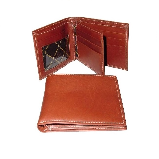 Pure, real, genuine leather mens wallet with 6 credit card slots, 1 id window slots, 2 currency pockets