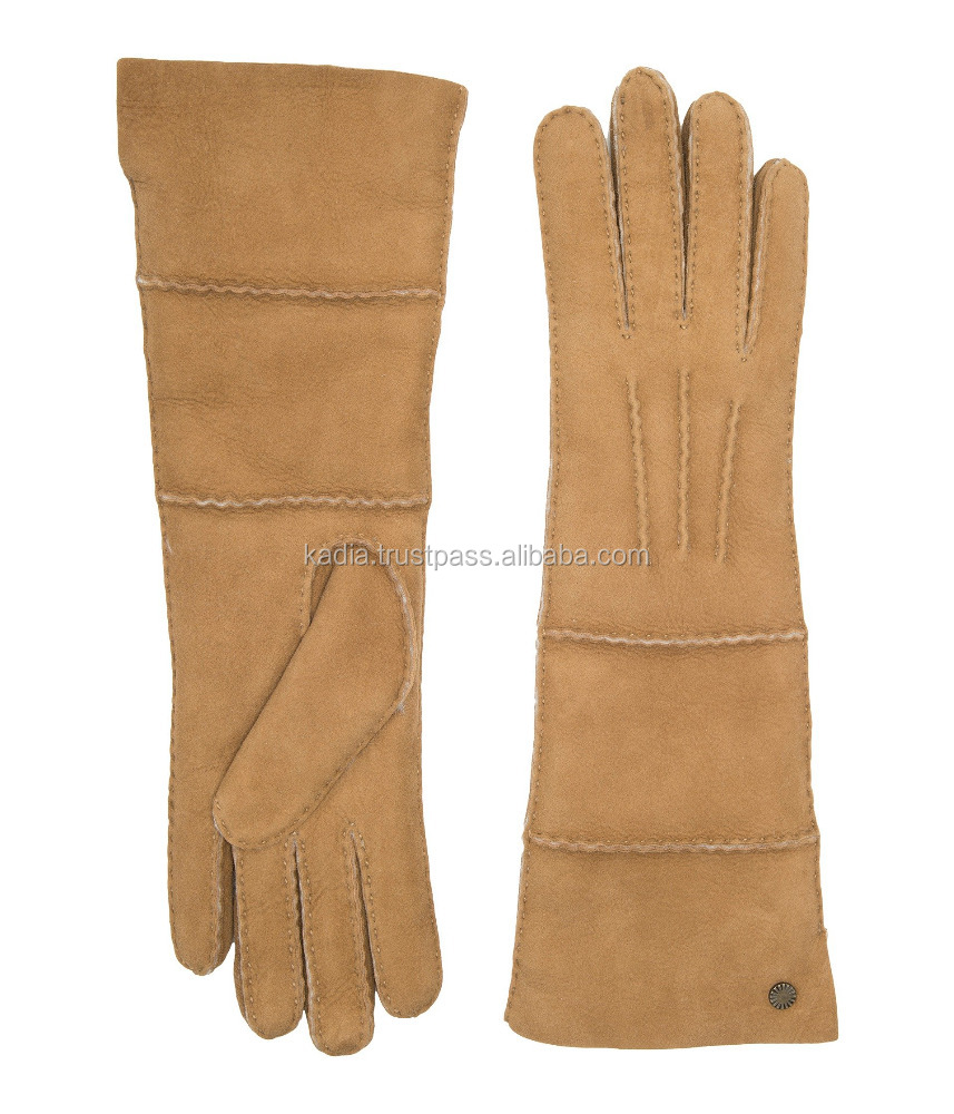 Women,s Long Pieced Sheepskin Gloves with Slim Pile