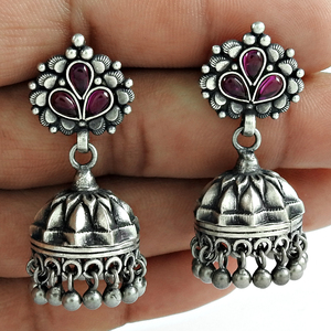 Imperious oxidised jhumka earring ruby gemstone solid silver jewelry indian 925 sterling silver wholesale