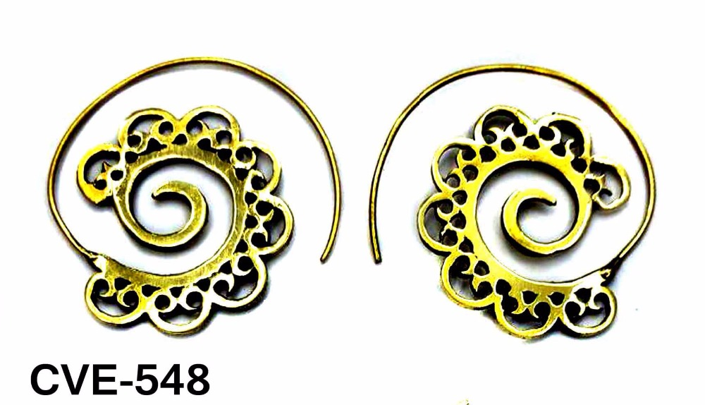 Crafty12 New Fabulous Charming Hammerd Heart Shape Pure Brass Mandala Tribal Spiral Hoop Earrings.
