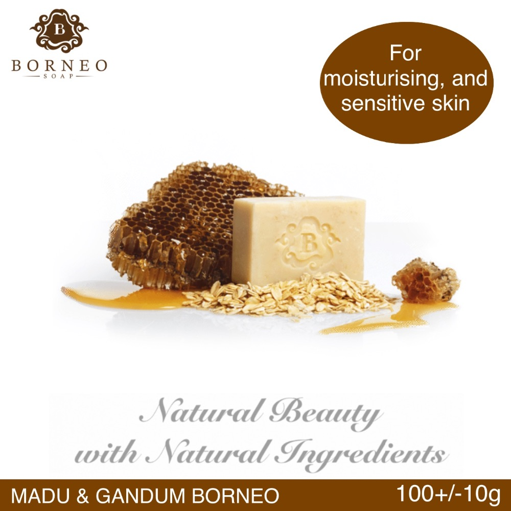 Borneo Soap Madu and Gandum Borneo Natural Handmade Body Bath 100G+/-10G