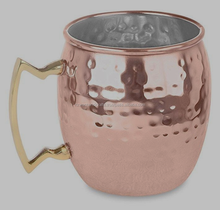 18 OZ 100% Copper Material Hammered Moscow Mule Mug,Brass Handle, Nickle Lined
