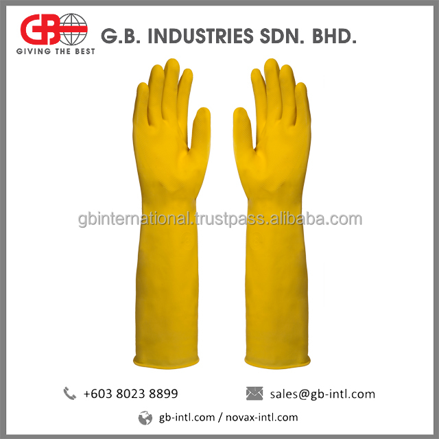 Extra Long Rubber Gloves - Long Latex Gloves Manufacturer Malaysia, High Protection Long Cuff Gloves