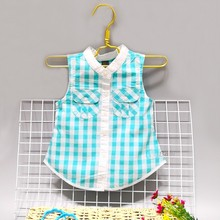 Sleeveless checked Cotton shirt for girls