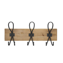 Set of 3 Metal Iron Wall Mounted Hooks on Wooden Plaque