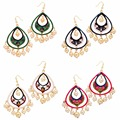 Jaipur Mart Gold Plated Imitation Pearl Meenakari Work Multi Color Earrings Set of 4 Pairs Earrings For Girls