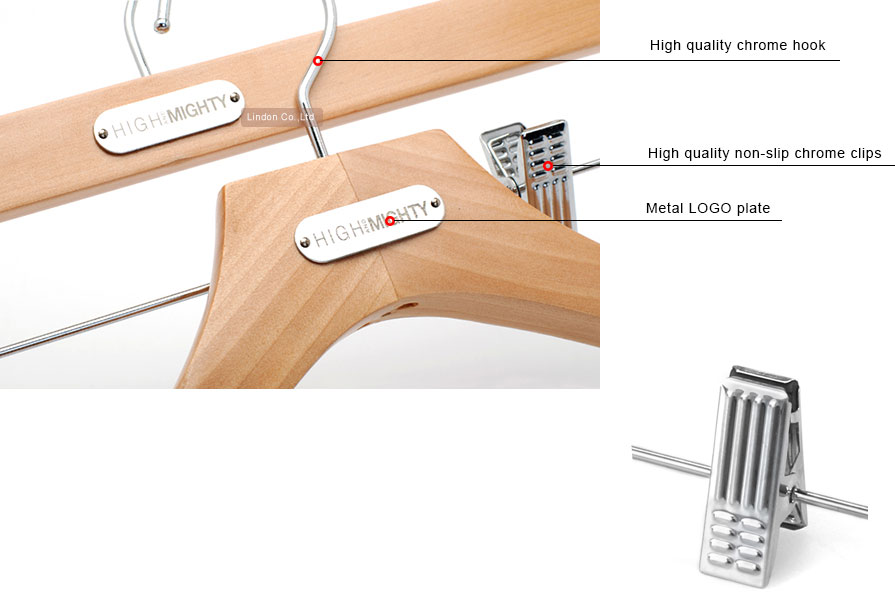 LINDON custom LOGO plate wooden clothes hangers for boutique