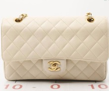 Used brand designer CHANEL Off White Caviar Chain shoulder bags for bulk sale.