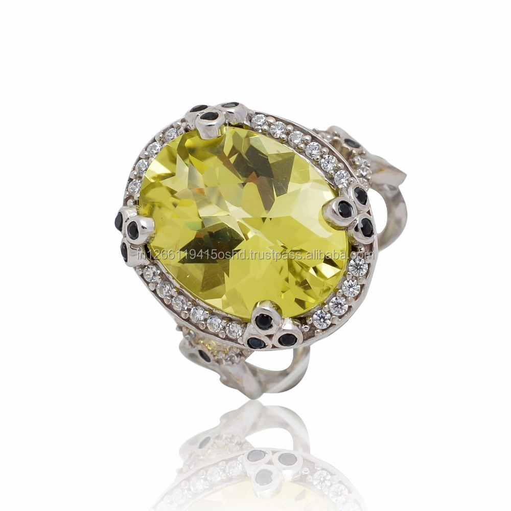 Gorgeous Swiss Lemon Quartz!! 925 sterling silver ring