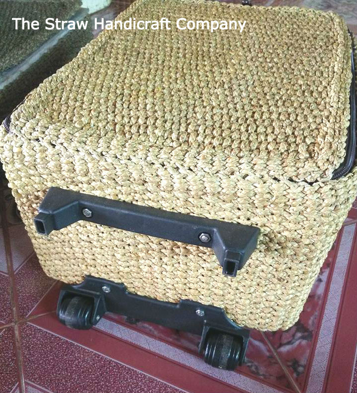 Natural Thailand Handmade Straw Woven Luggage Suitcase Vintage Travel Trolley Case Bag