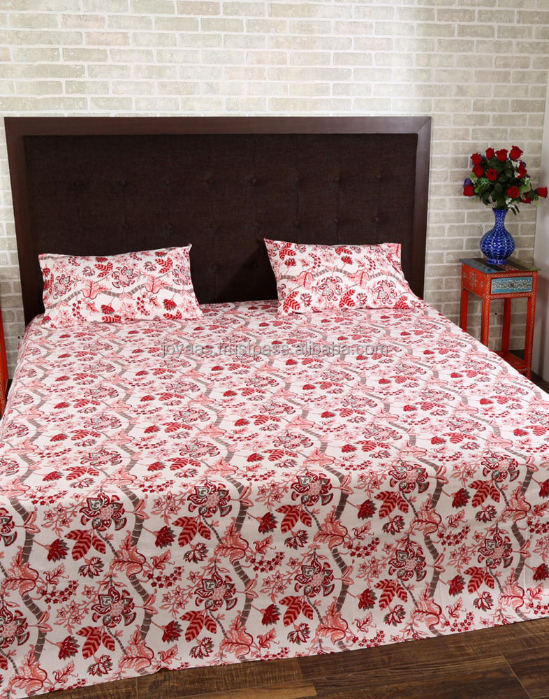Best Selling Pink And Red Cotton Floral Printed Hotel Bedsheet