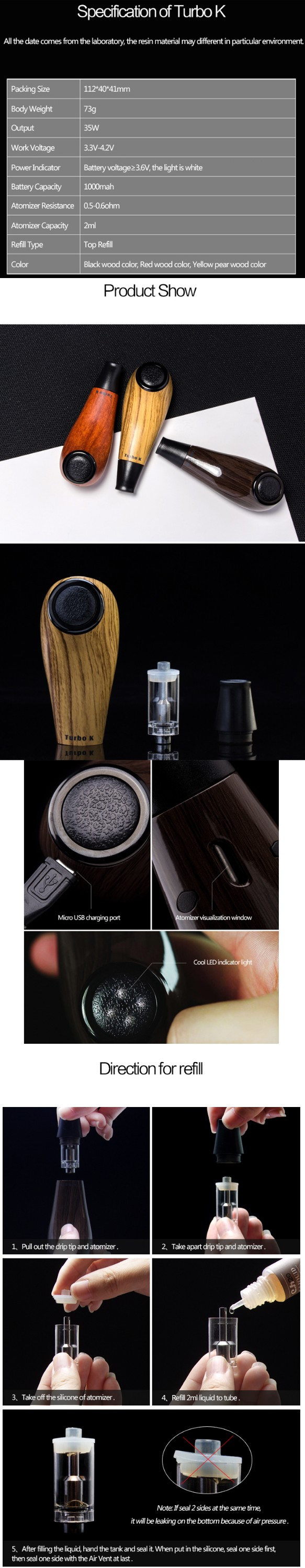 Classic epipe vaporizer kit new kamry epipe Turbo K e-pipe with sub ohm tank 0.5ohm atomizer