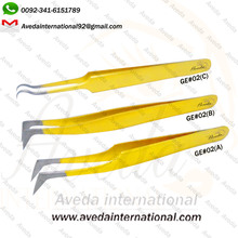 Perfect Design Golden Color Eyelash Extension Tweezers / New Style Golden Colored Eyelash Tweezers from Pakistan