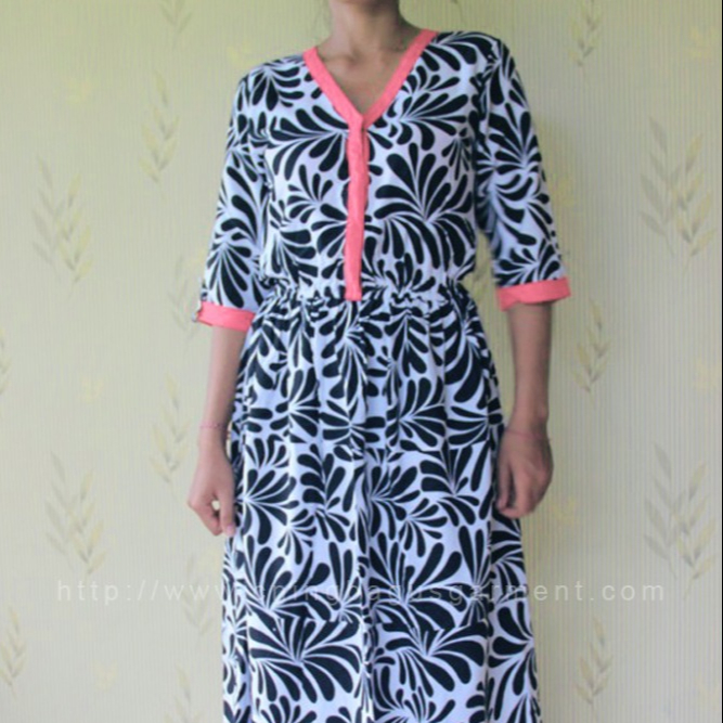 3/4 Sleeve Long Dress Casual Printed Rayon and Stitch