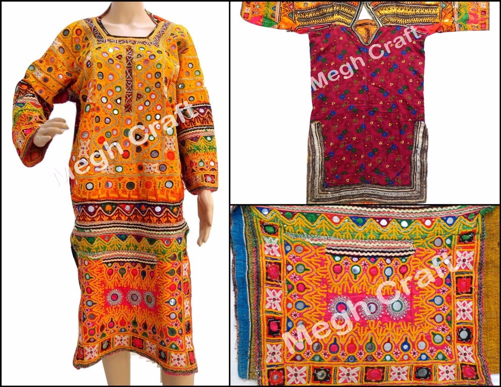 Long Balochi Jackets - Cotton/Silk Handmade Balochi Dress - Vintage Kuchi Handmade Balochi Tradition Dress - STOCKLOT