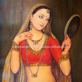 Rajasthan Indian Art Gallery Rajput Queen Woman Beauty Oil Canvas Painting