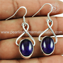 Latest designs amethyst gemstone silver earrings trendy 925 sterling silver jewelry manufacturer indian silver earrings