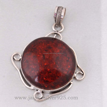 925 Sterling silver indian fashion amber gemstone pendant