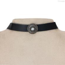 Sterling Silver Diamond Leather Choker Collar Necklace Jewelry for Girls