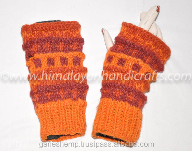 Aztec Print Colorful Multi lining Design Hand Knitted Wool Fingerless Hand Warmers