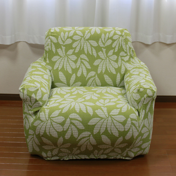 Fit Sofa Cover Bay Leaf Pattern Natural/Green 1-3 Seaters Made in Japan