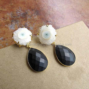 White Solar Quartz Dangle Earrings with Matte Finish Black Onyx - Statement