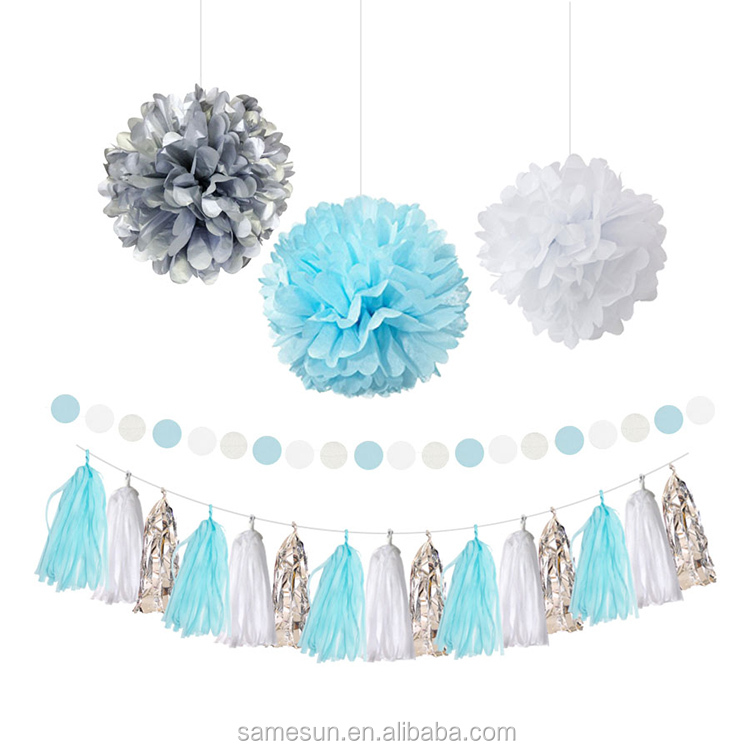 Silver Blue And White Tissue Paper Pom Poms And Tassel Garland