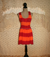 New Tie Dye Orange Red Striped Rayon Midi Beach Casual Sundress